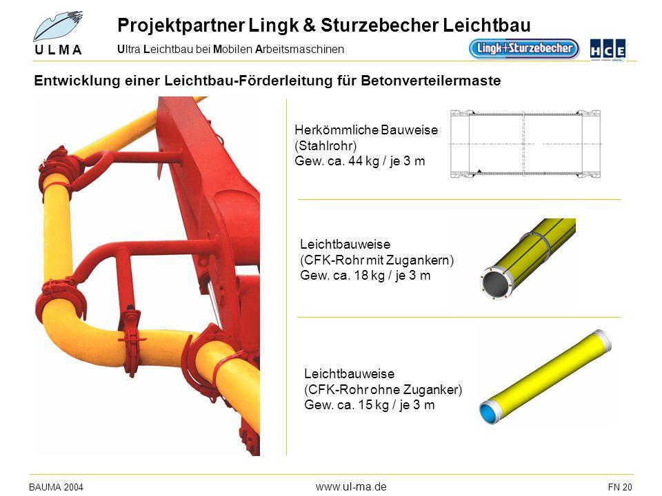 Ultra Leichtbau bei Mobilen Arbeitsmaschinen BAUMA 2004 www.ul-ma.de FN 20 U L M A Entwicklung einer Leichtbau-Förderleitung für Betonverteilermaste H