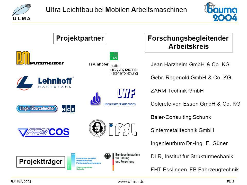 BAUMA 2004 www.ul-ma.de FN 3 U L M A ProjektpartnerForschungsbegleitender Arbeitskreis Universität Paderborn Projektträger Jean Harzheim GmbH & Co. KG