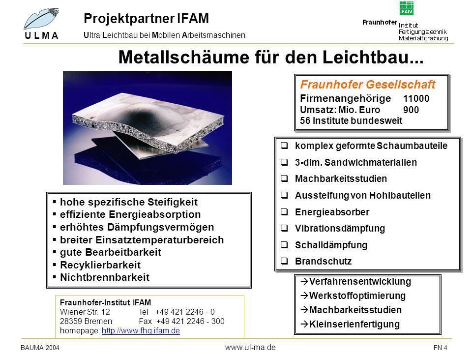 BAUMA 2004 www.ul-ma.de FN 4 U L M A Metallschäume für den Leichtbau... hohe spezifische Steifigkeit effiziente Energieabsorption erhöhtes Dämpfungsve