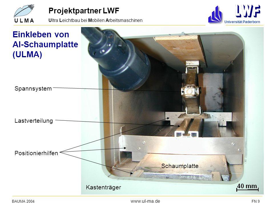 Ultra Leichtbau bei Mobilen Arbeitsmaschinen BAUMA 2004 www.ul-ma.de FN 9 U L M A Kastenträger Schaumplatte Spannsystem Lastverteilung Positionierhilf