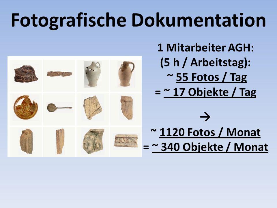 ~ 1120 Fotos / Monat = ~ 340 Objekte / Monat 1 Mitarbeiter AGH: (5 h / Arbeitstag): ~ 55 Fotos / Tag = ~ 17 Objekte / Tag Fotografische Dokumentation