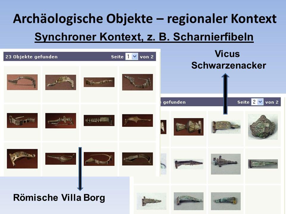 Archäologische Objekte – regionaler Kontext Synchroner Kontext, z. B. Scharnierfibeln Römische Villa Borg Vicus Schwarzenacker
