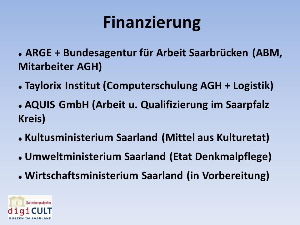 Finanzierung ARGE + Bundesagentur für Arbeit Saarbrücken (ABM, Mitarbeiter AGH) Taylorix Institut (Computerschulung AGH + Logistik) AQUIS GmbH (Arbeit