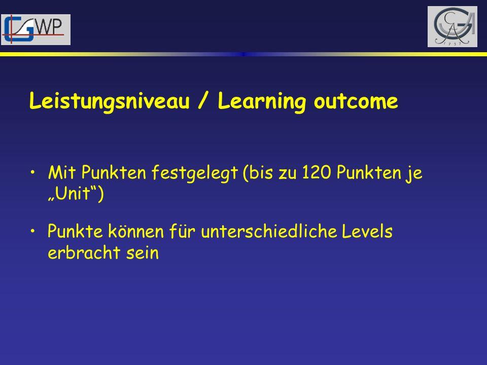 Leistungsniveau / Learning outcome Mit Punkten festgelegt (bis zu 120 Punkten je Unit) Punkte können für unterschiedliche Levels erbracht sein