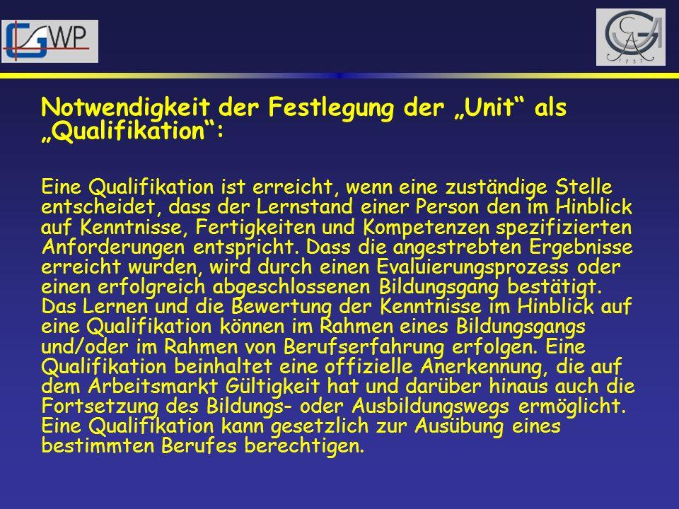 Notwendigkeit der Festlegung der Unit als Qualifikation: Eine Qualifikation ist erreicht, wenn eine zuständige Stelle entscheidet, dass der Lernstand