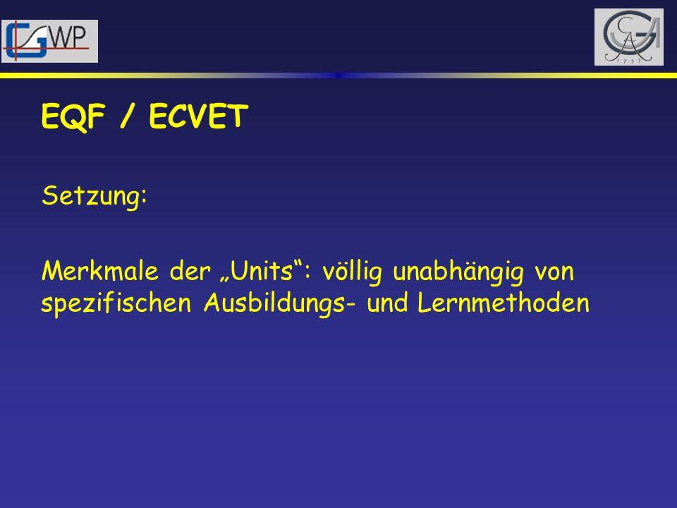 EQF / ECVET Setzung: Merkmale der Units: völlig unabhängig von spezifischen Ausbildungs- und Lernmethoden