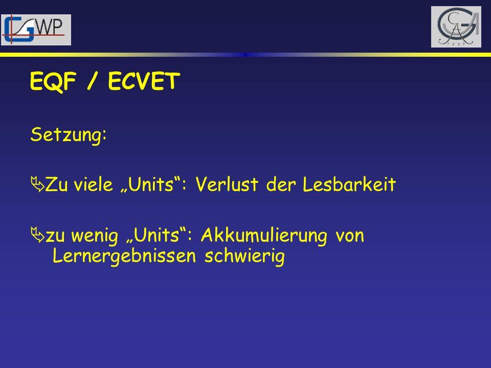 EQF / ECVET Setzung: Zu viele Units: Verlust der Lesbarkeit zu wenig Units: Akkumulierung von Lernergebnissen schwierig