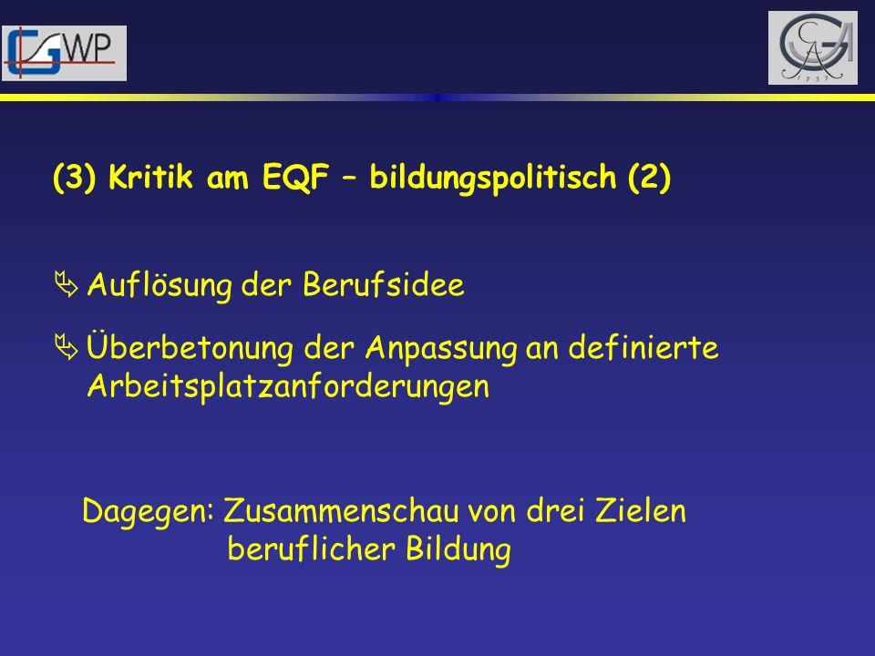 (3) Kritik am EQF – bildungspolitisch (2) Auflösung der Berufsidee Überbetonung der Anpassung an definierte Arbeitsplatzanforderungen Dagegen: Zusamme
