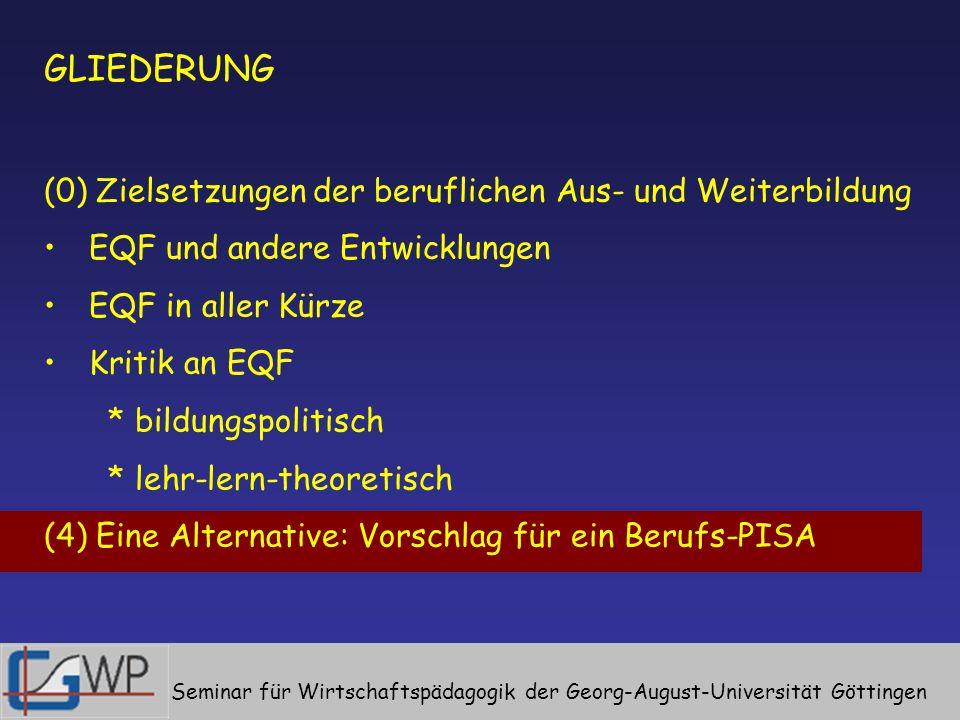 GLIEDERUNG (0) Zielsetzungen der beruflichen Aus- und Weiterbildung EQF und andere Entwicklungen EQF in aller Kürze Kritik an EQF * bildungspolitisch