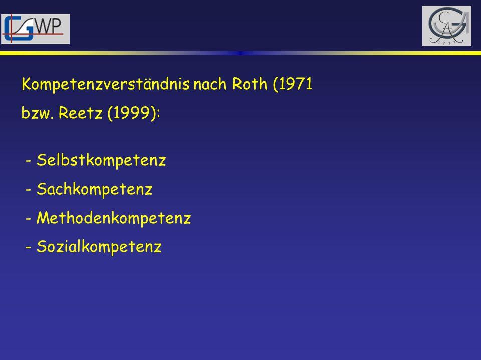 Kompetenzverständnis nach Roth (1971 bzw. Reetz (1999): - Selbstkompetenz - Sachkompetenz - Methodenkompetenz - Sozialkompetenz