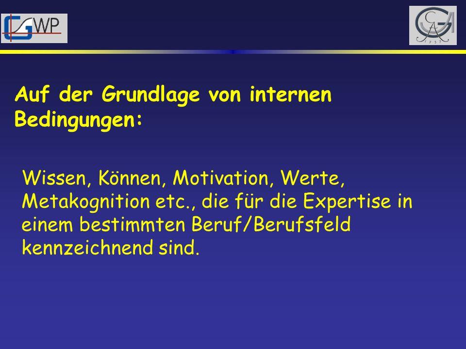 Auf der Grundlage von internen Bedingungen: Wissen, Können, Motivation, Werte, Metakognition etc., die für die Expertise in einem bestimmten Beruf/Ber