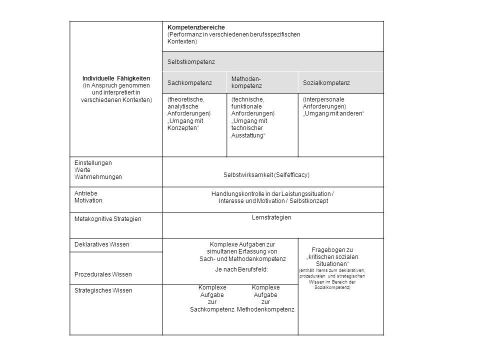 Individuelle Fähigkeiten (in Anspruch genommen und interpretiert in verschiedenen Kontexten) Kompetenzbereiche (Performanz in verschiedenen berufsspez