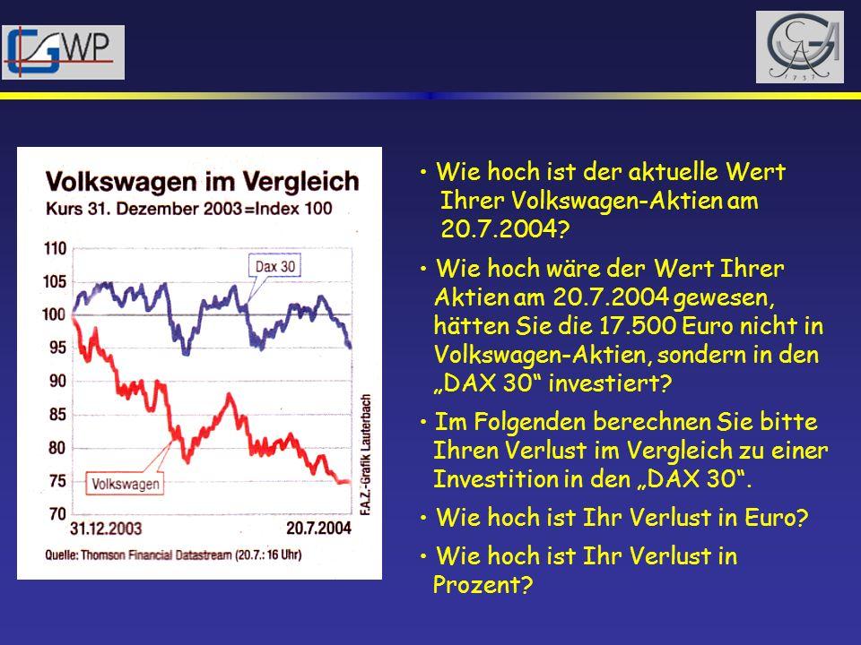 Wie hoch ist der aktuelle Wert Ihrer Volkswagen-Aktien am 20.7.2004? Wie hoch wäre der Wert Ihrer Aktien am 20.7.2004 gewesen, hätten Sie die 17.500 E