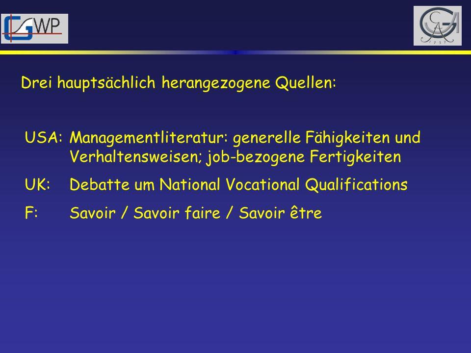 Drei hauptsächlich herangezogene Quellen: USA: Managementliteratur: generelle Fähigkeiten und Verhaltensweisen; job-bezogene Fertigkeiten UK: Debatte