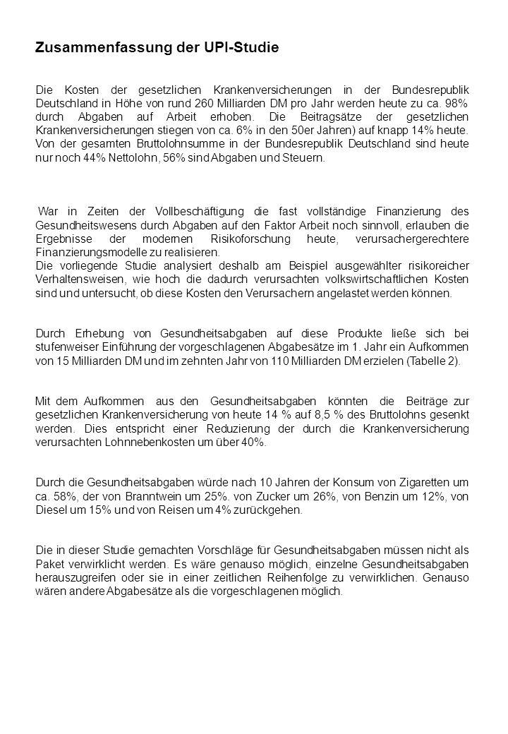 Zusammenfassung der UPI-Studie Die Kosten der gesetzlichen Krankenversicherungen in der Bundesrepublik Deutschland in Höhe von rund 260 Milliarden DM
