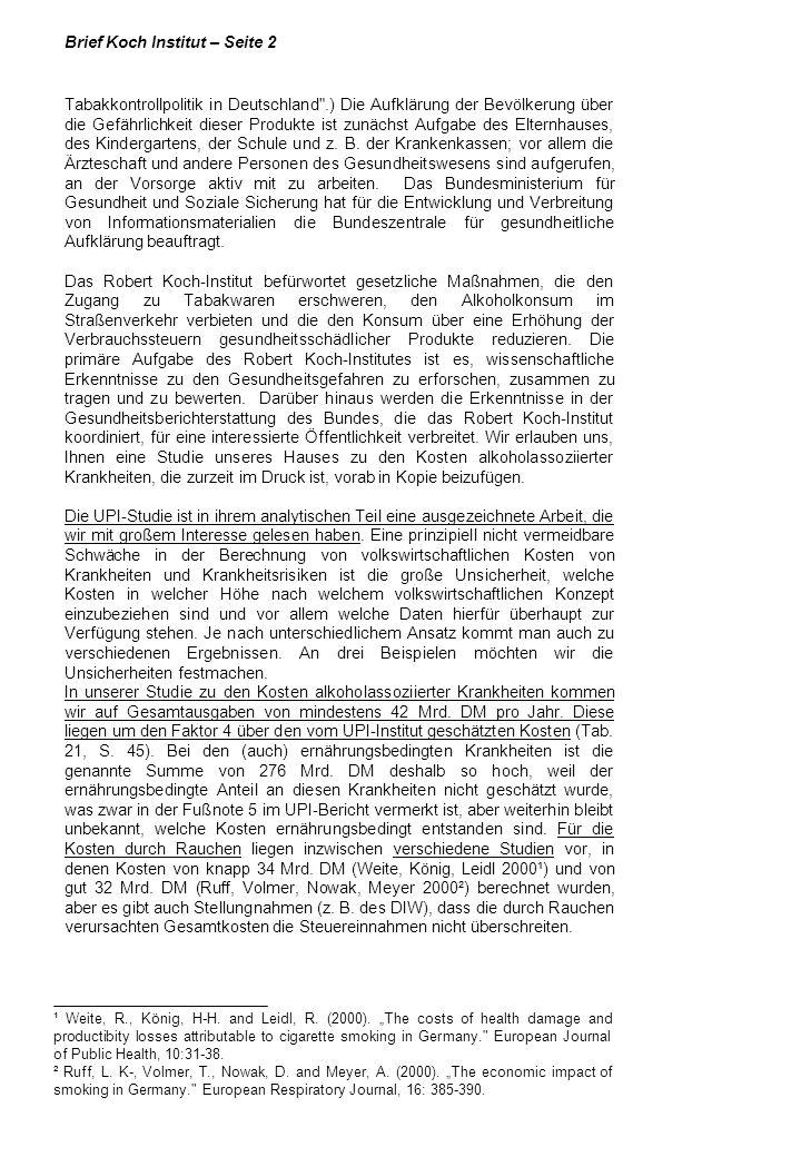 Brief Koch Institut – Seite 2 Tabakkontrollpolitik in Deutschland