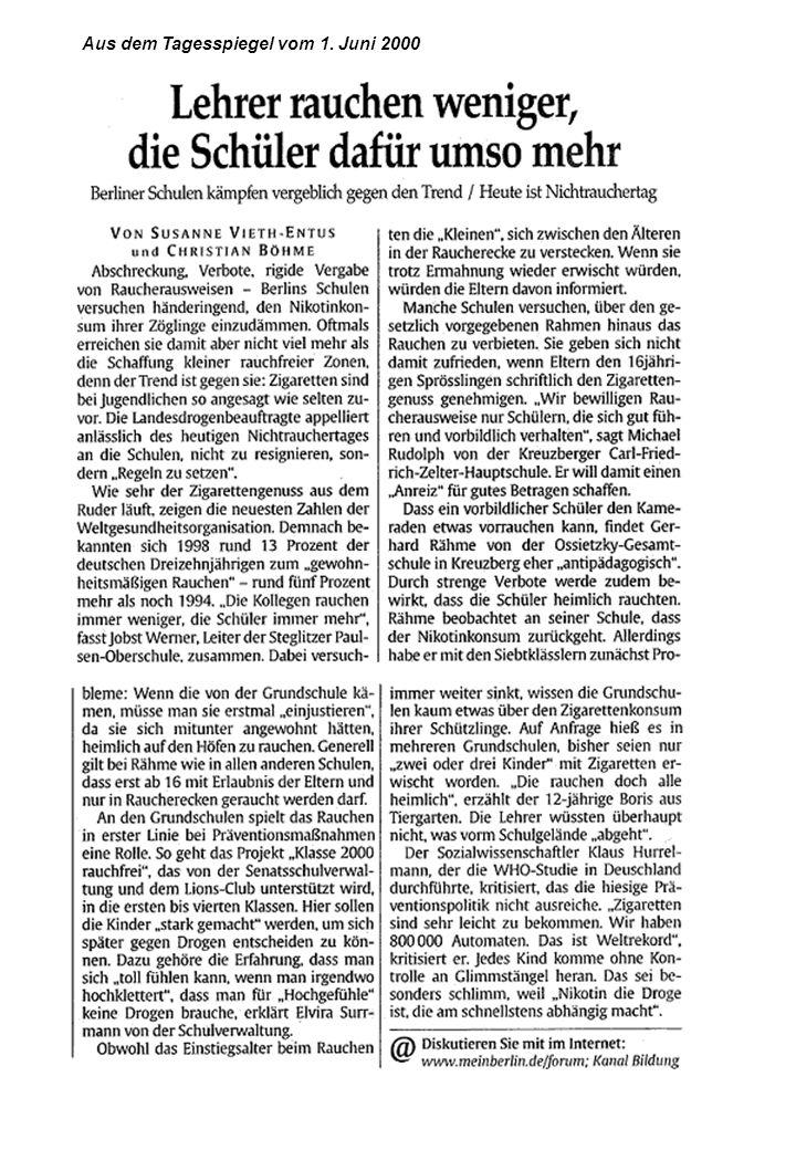 Aus dem Tagesspiegel vom 1. Juni 2000