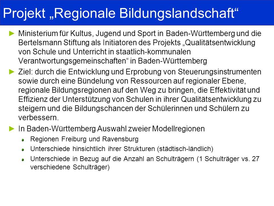 Projekt Regionale Bildungslandschaft Ministerium für Kultus, Jugend und Sport in Baden-Württemberg und die Bertelsmann Stiftung als Initiatoren des Pr