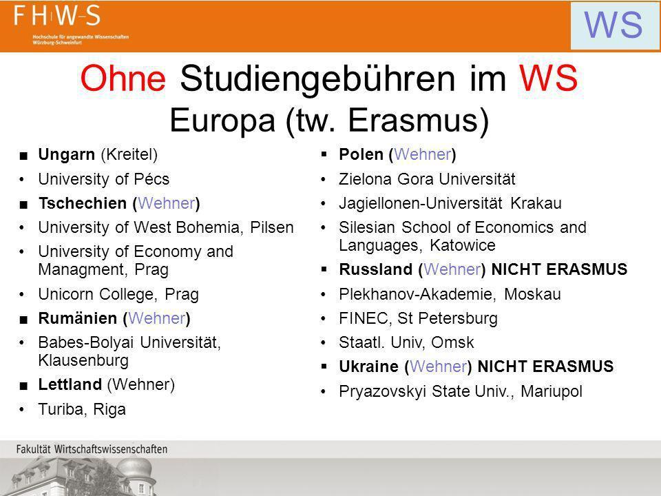 Ohne Studiengebühren im WS Europa (tw. Erasmus) WS Ungarn (Kreitel) University of Pécs Tschechien (Wehner) University of West Bohemia, Pilsen Universi