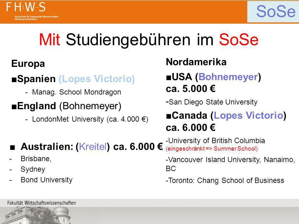 Mit Studiengebühren im SoSe Europa Spanien (Lopes Victorio) -Manag. School Mondragon England (Bohnemeyer) -LondonMet University (ca. 4.000 ) Nordameri