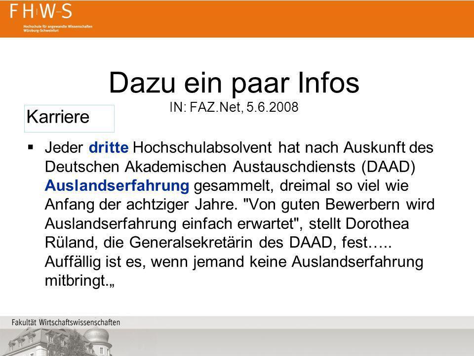 Dazu ein paar Infos IN: FAZ.Net, 5.6.2008 Jeder dritte Hochschulabsolvent hat nach Auskunft des Deutschen Akademischen Austauschdiensts (DAAD) Ausland