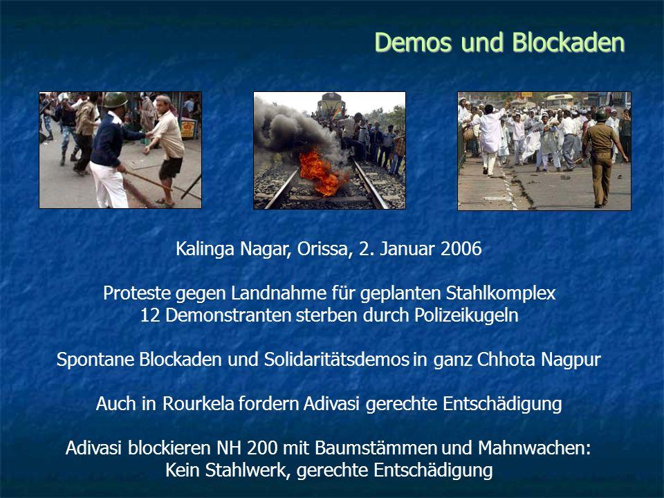 Demos und Blockaden 1855 Santal-Rebellion 1899 Munda-Aufstand Birsa Munda 1940 Bewegung für Staat Jharkhand 1975 Jungle Bachao Andolan Seit 1967 Koel-Karo-Staudamm blockiert
