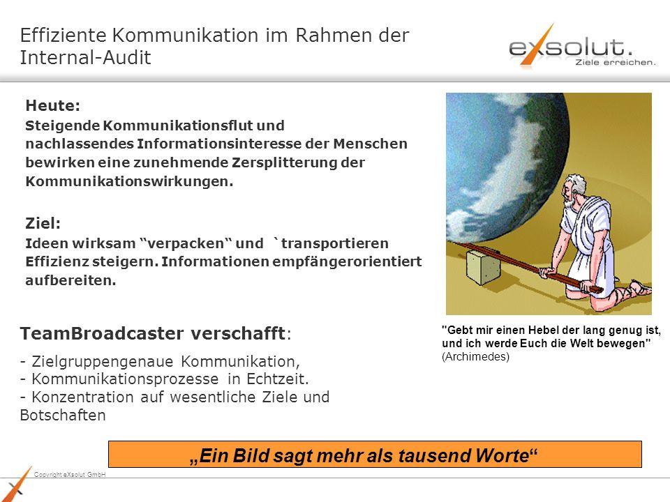 Copyright eXsolut GmbH Effiziente Kommunikation im Rahmen der Internal-Audit Heute: Steigende Kommunikationsflut und nachlassendes Informationsinteres