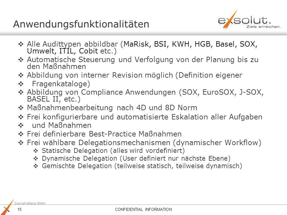 Copyright eXsolut GmbH Alle Audittypen abbildbar (MaRisk, BSI, KWH, HGB, Basel, SOX, Umwelt, ITIL, Cobit etc.) Automatische Steuerung und Verfolgung v