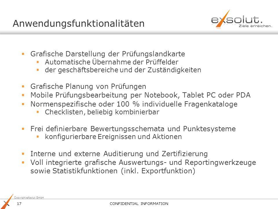 Copyright eXsolut GmbH Anwendungsfunktionalitäten Grafische Darstellung der Prüfungslandkarte Automatische Übernahme der Prüffelder der geschäftsberei