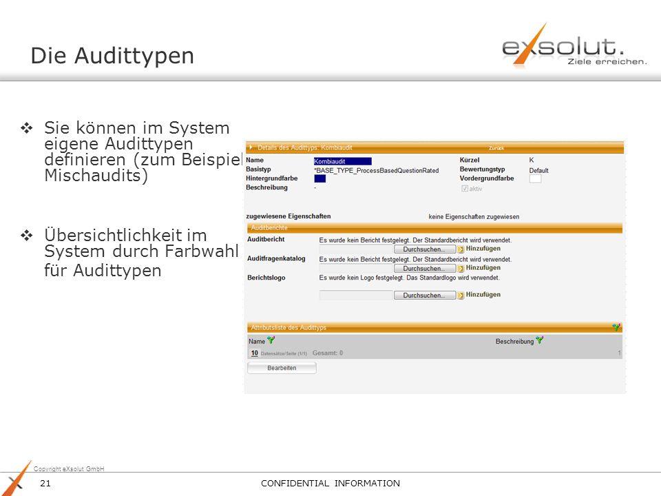 Copyright eXsolut GmbH Die Audittypen Sie können im System eigene Audittypen definieren (zum Beispiel Mischaudits) Übersichtlichkeit im System durch F