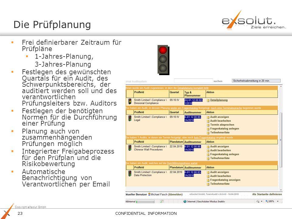Copyright eXsolut GmbH Die Prüfplanung Frei definierbarer Zeitraum für Prüfpläne 1-Jahres-Planung, 3-Jahres-Planung Festlegen des gewünschten Quartals