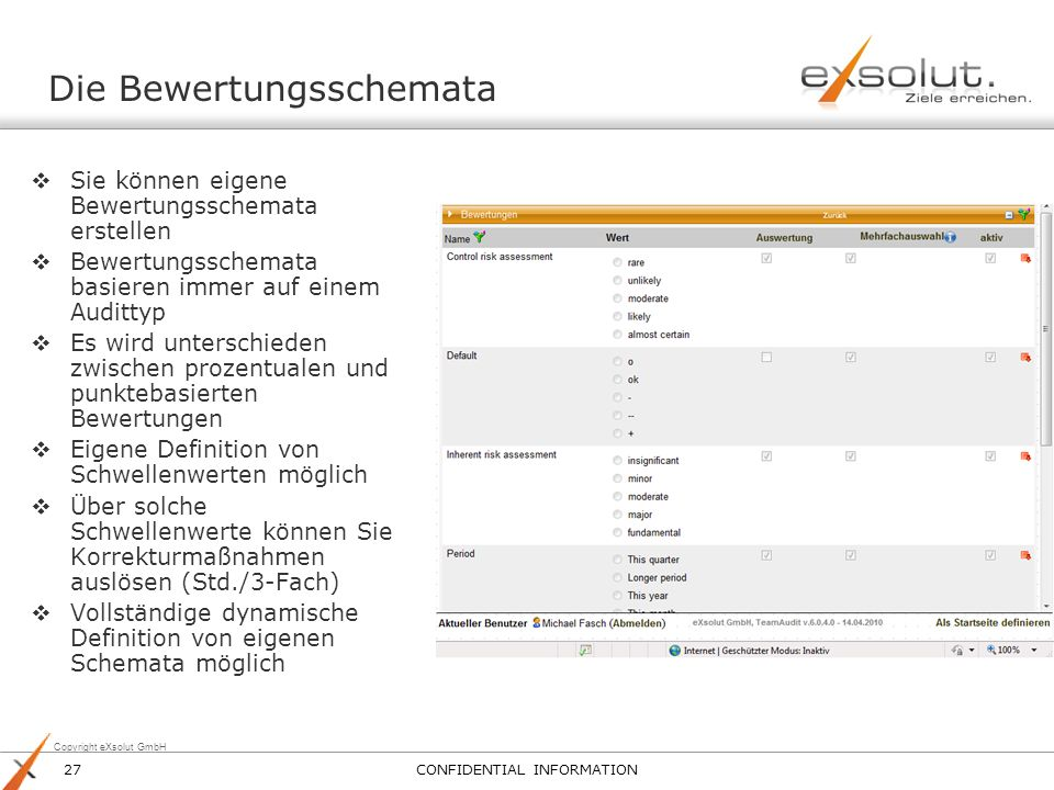 Copyright eXsolut GmbH Die Bewertungsschemata Sie können eigene Bewertungsschemata erstellen Bewertungsschemata basieren immer auf einem Audittyp Es w