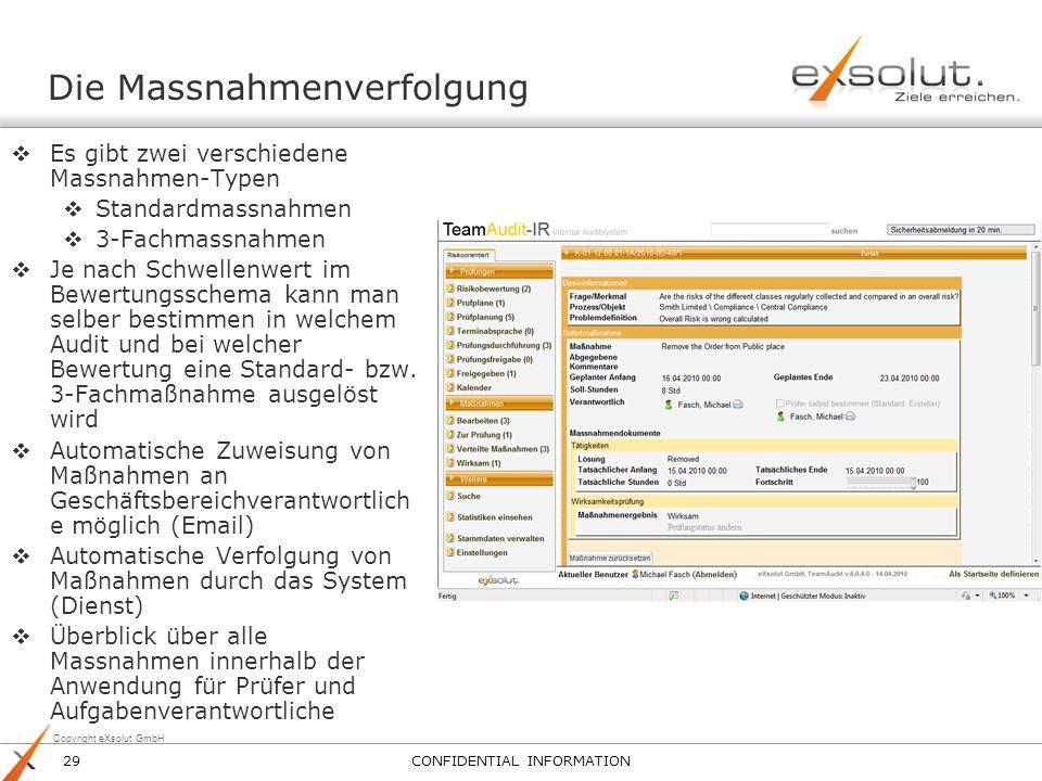 Copyright eXsolut GmbH Die Massnahmenverfolgung Es gibt zwei verschiedene Massnahmen-Typen Standardmassnahmen 3-Fachmassnahmen Je nach Schwellenwert i