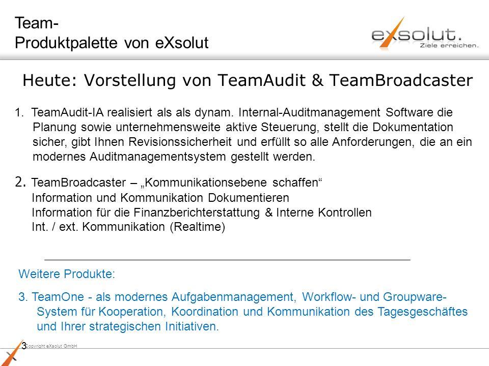 Copyright eXsolut GmbH 3 Heute: Vorstellung von TeamAudit & TeamBroadcaster 1. TeamAudit-IA realisiert als als dynam. Internal-Auditmanagement Softwar