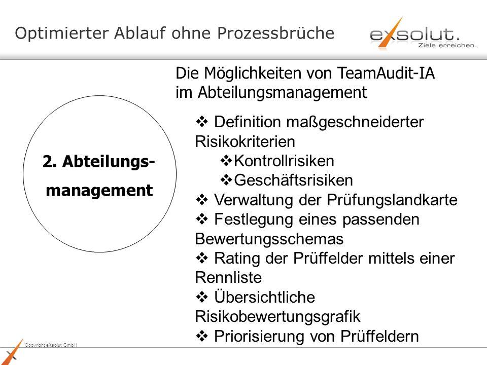 Copyright eXsolut GmbH 2. Abteilungs- management Die Möglichkeiten von TeamAudit-IA im Abteilungsmanagement Optimierter Ablauf ohne Prozessbrüche Defi