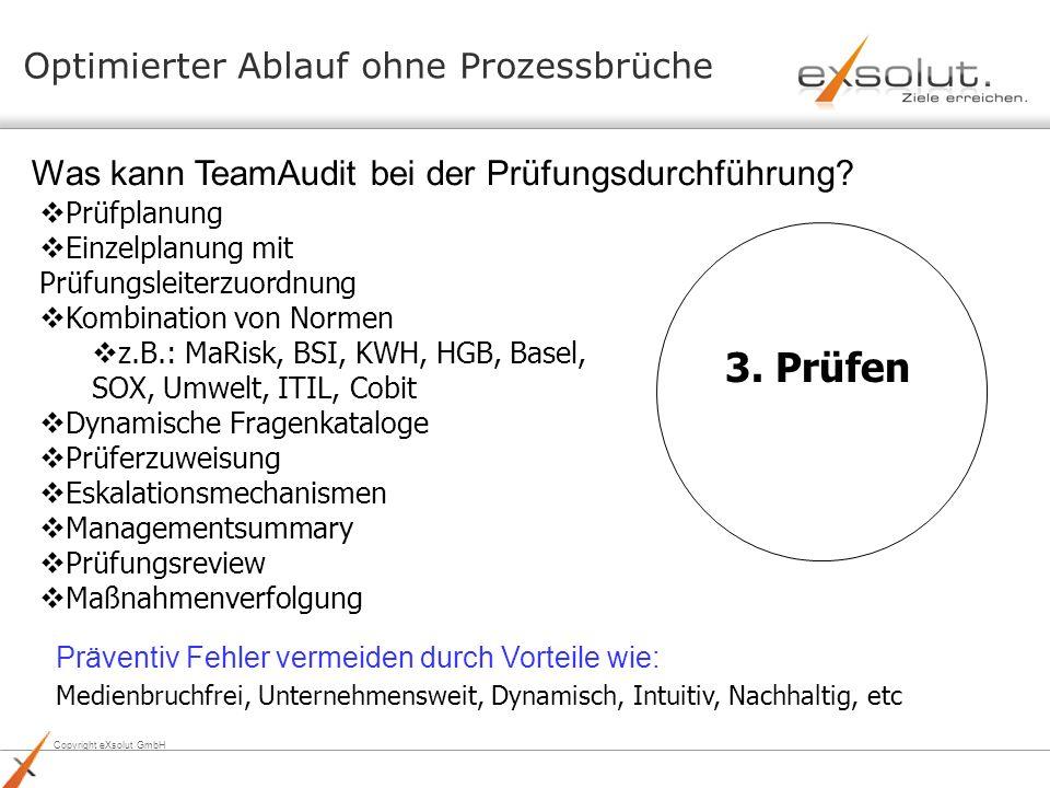 Copyright eXsolut GmbH Optimierter Ablauf ohne Prozessbrüche 3. Prüfen Prüfplanung Einzelplanung mit Prüfungsleiterzuordnung Kombination von Normen z.