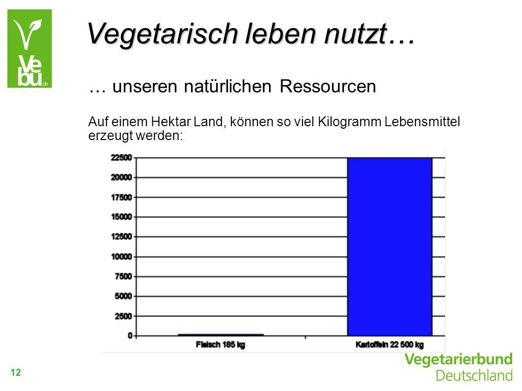 12 … unseren natürlichen Ressourcen Auf einem Hektar Land, können so viel Kilogramm Lebensmittel erzeugt werden: Vegetarisch leben nutzt…