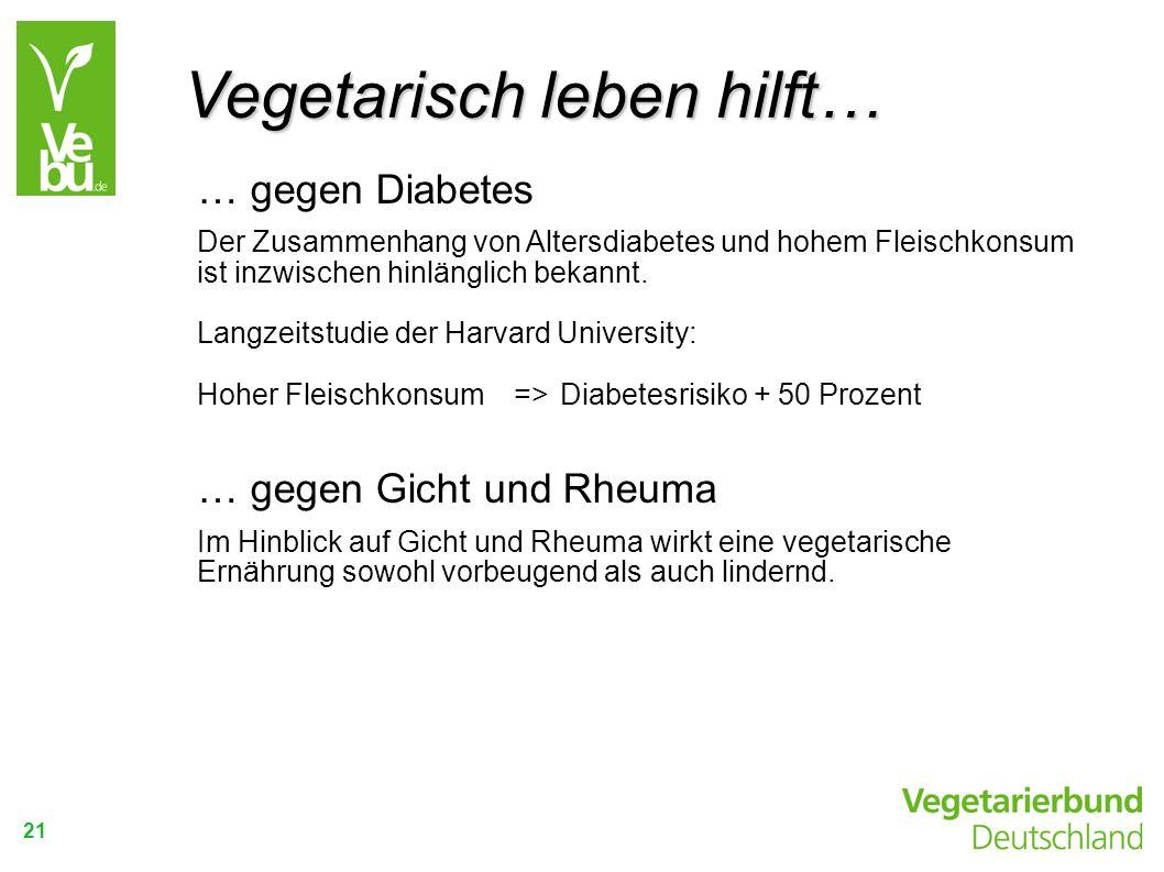 21 … gegen Diabetes Der Zusammenhang von Altersdiabetes und hohem Fleischkonsum ist inzwischen hinlänglich bekannt. Langzeitstudie der Harvard Univers