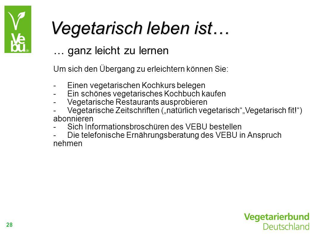 28 … ganz leicht zu lernen Um sich den Übergang zu erleichtern können Sie: -Einen vegetarischen Kochkurs belegen -Ein schönes vegetarisches Kochbuch k