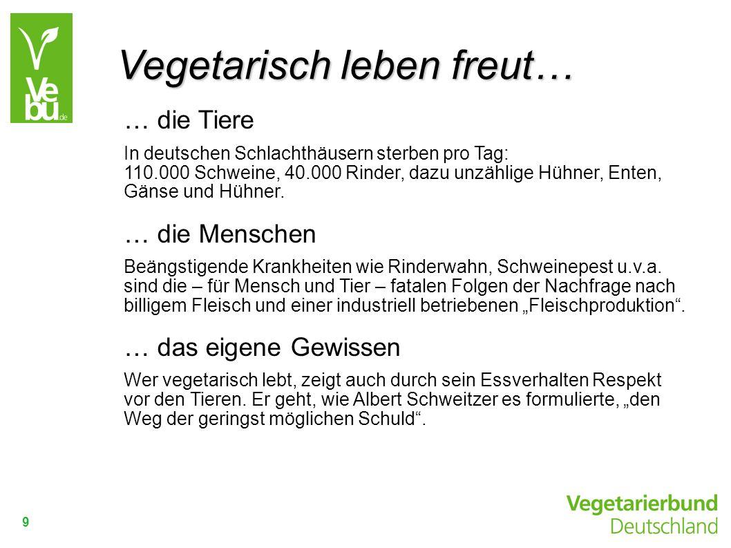 9 … die Tiere In deutschen Schlachthäusern sterben pro Tag: 110.000 Schweine, 40.000 Rinder, dazu unzählige Hühner, Enten, Gänse und Hühner. … die Men