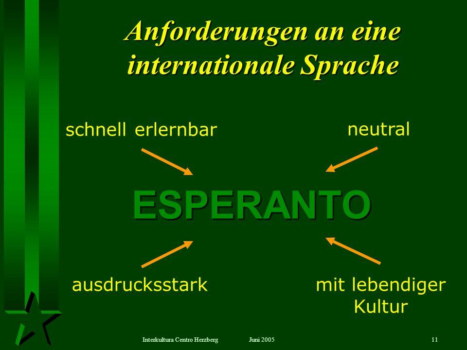 Juni 2005Interkultura Centro Herzberg11 Anforderungen an eine internationale Sprache schnell erlernbarneutral ESPERANTO ausdrucksstarkmit lebendiger K