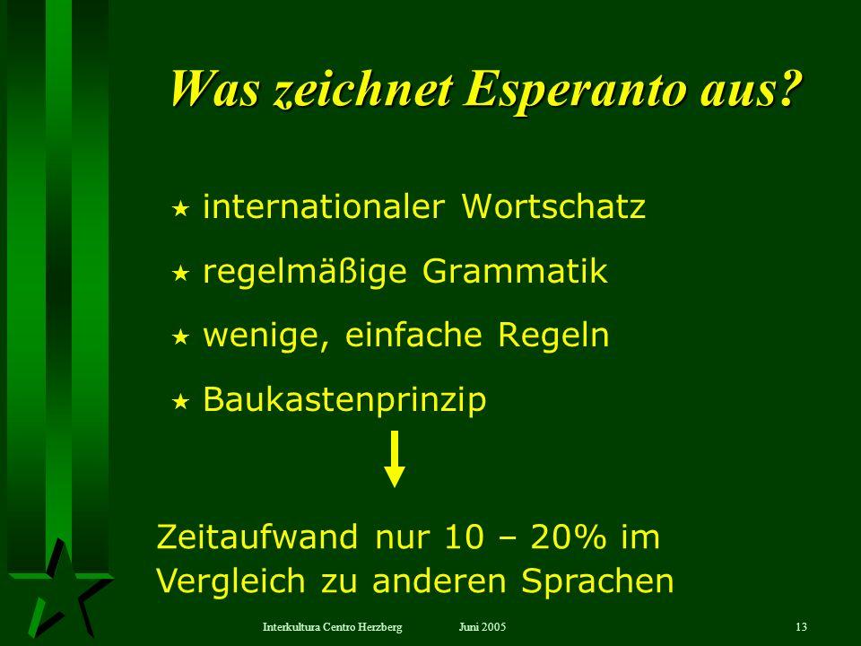 Juni 2005Interkultura Centro Herzberg13 internationaler Wortschatz regelmäßige Grammatik wenige, einfache Regeln Baukastenprinzip Was zeichnet Esperan