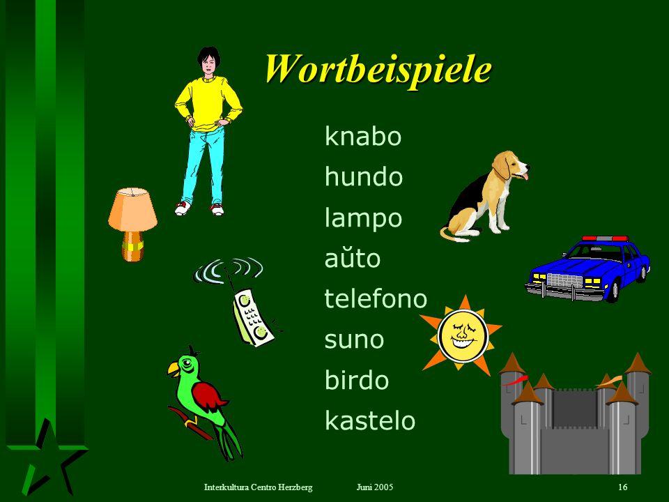 Juni 2005Interkultura Centro Herzberg16 Wortbeispiele knabo hundo lampo aŭto telefono suno birdo kastelo