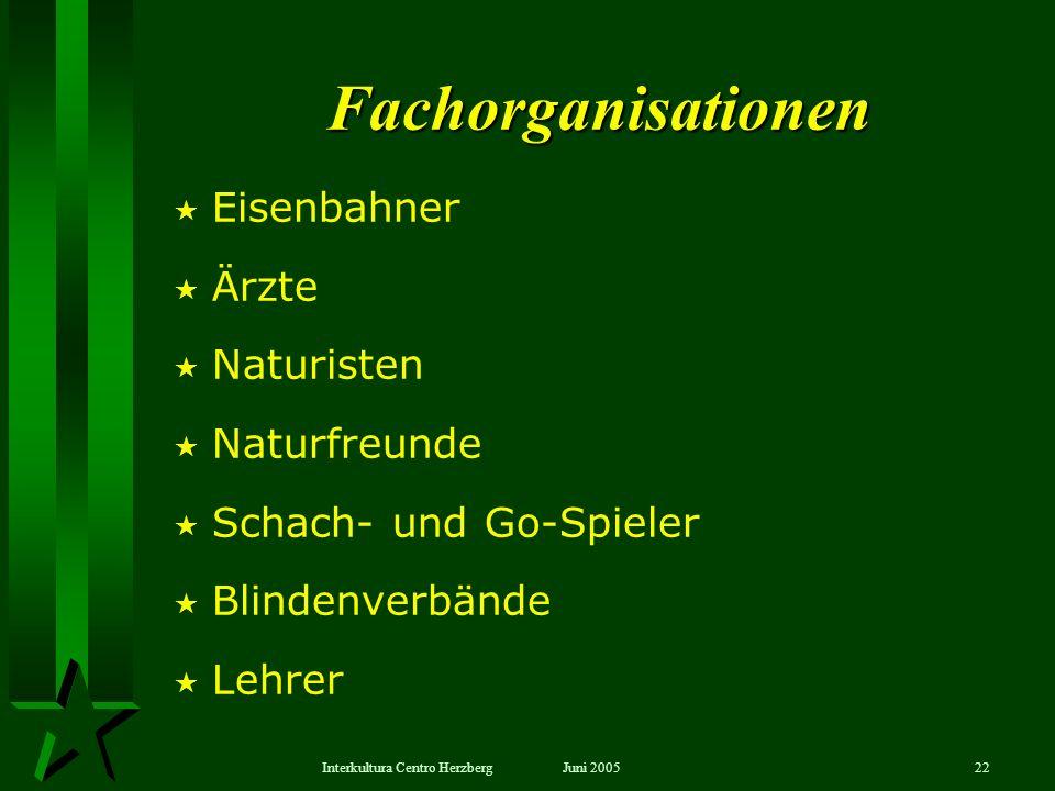 Juni 2005Interkultura Centro Herzberg22 Eisenbahner Ärzte Naturisten Naturfreunde Schach- und Go-Spieler Blindenverbände Lehrer Fachorganisationen