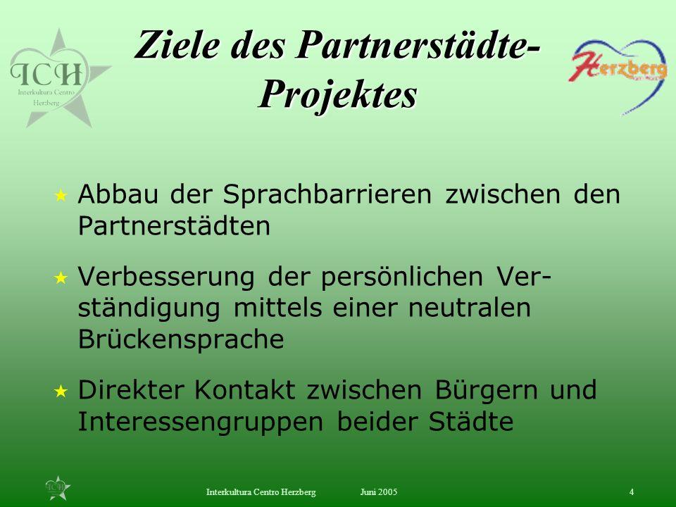 Juni 2005Interkultura Centro Herzberg4 Ziele des Partnerstädte- Projektes Abbau der Sprachbarrieren zwischen den Partnerstädten Verbesserung der persö