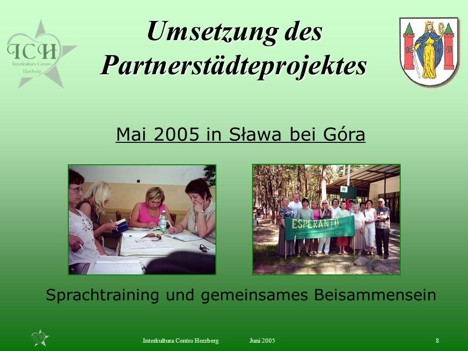 Juni 2005Interkultura Centro Herzberg8 Mai 2005 in Sława bei Góra Sprachtraining und gemeinsames Beisammensein Umsetzung des Partnerstädteprojektes