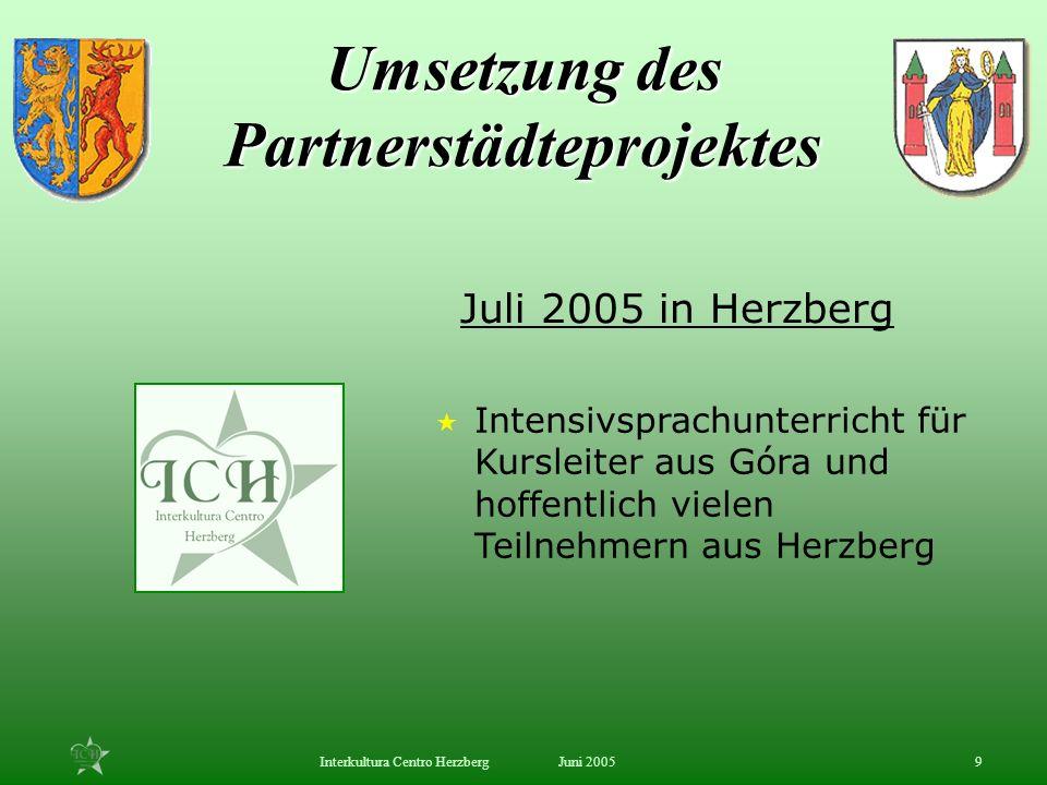 Juni 2005Interkultura Centro Herzberg9 Intensivsprachunterricht für Kursleiter aus Góra und hoffentlich vielen Teilnehmern aus Herzberg Juli 2005 in H