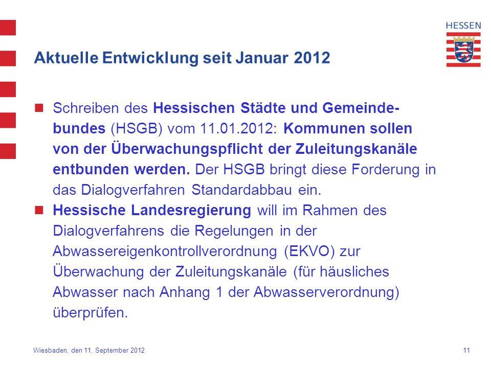 11 Wiesbaden, den 11. September 2012 Aktuelle Entwicklung seit Januar 2012 Schreiben des Hessischen Städte und Gemeinde- bundes (HSGB) vom 11.01.2012: