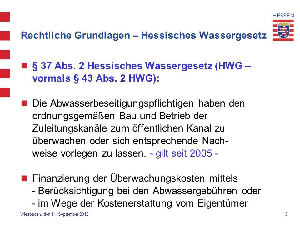 3 Wiesbaden, den 11. September 2012 Rechtliche Grundlagen – Hessisches Wassergesetz § 37 Abs. 2 Hessisches Wassergesetz (HWG – vormals § 43 Abs. 2 HWG