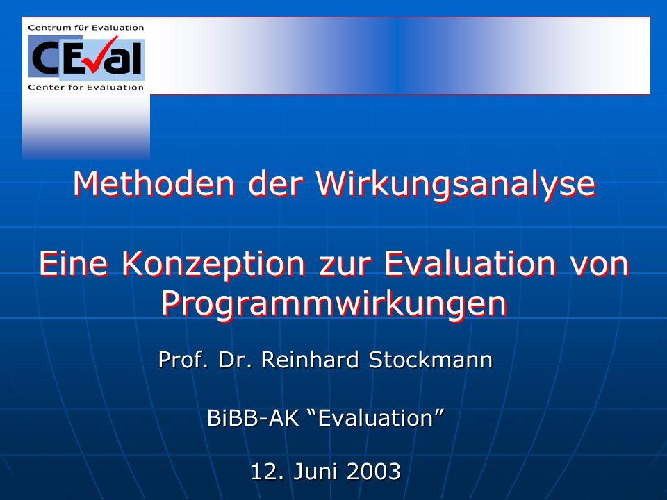 Prof. Dr. Reinhard Stockmann BiBB-AK Evaluation 12. Juni 2003 Methoden der Wirkungsanalyse Eine Konzeption zur Evaluation von Programmwirkungen